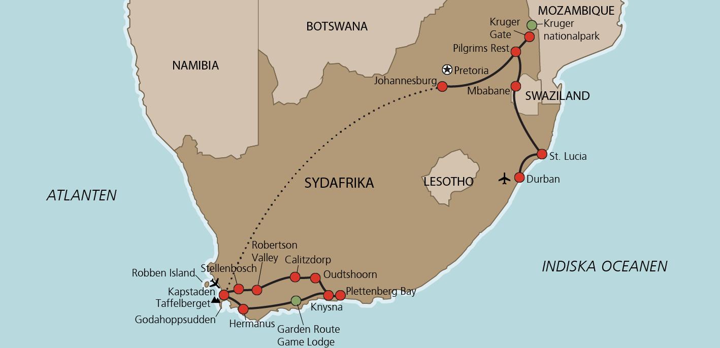 Karta Stora Sydafrikaresan