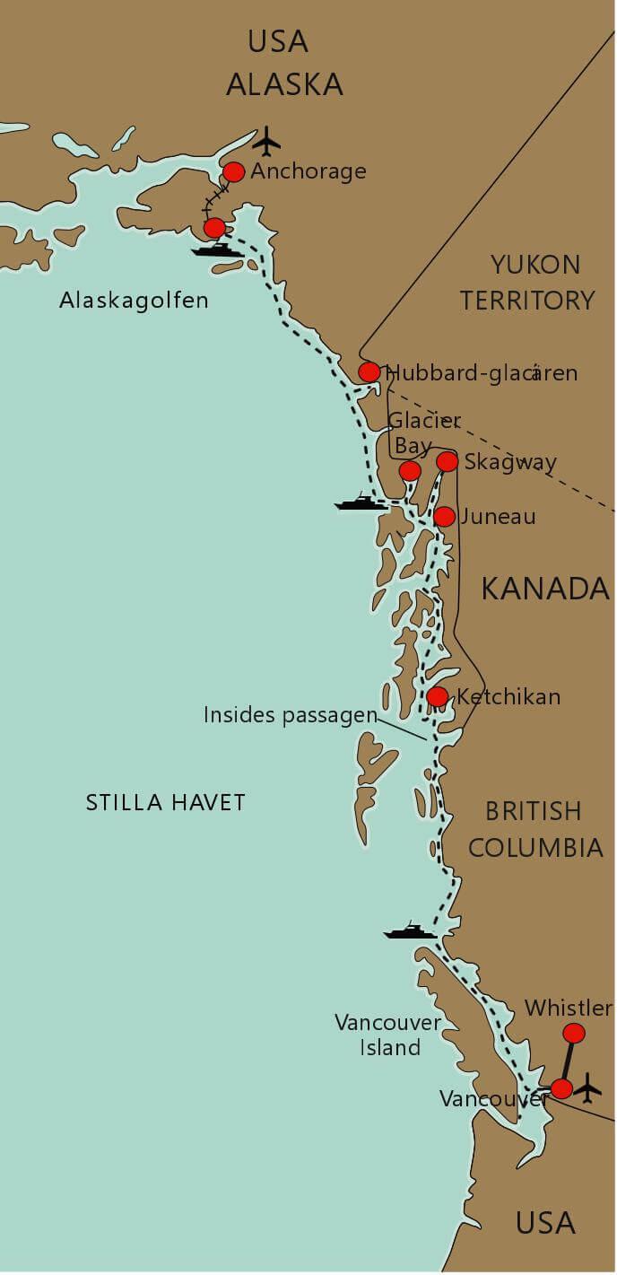 Karta Kryssning Kanada och Alaska