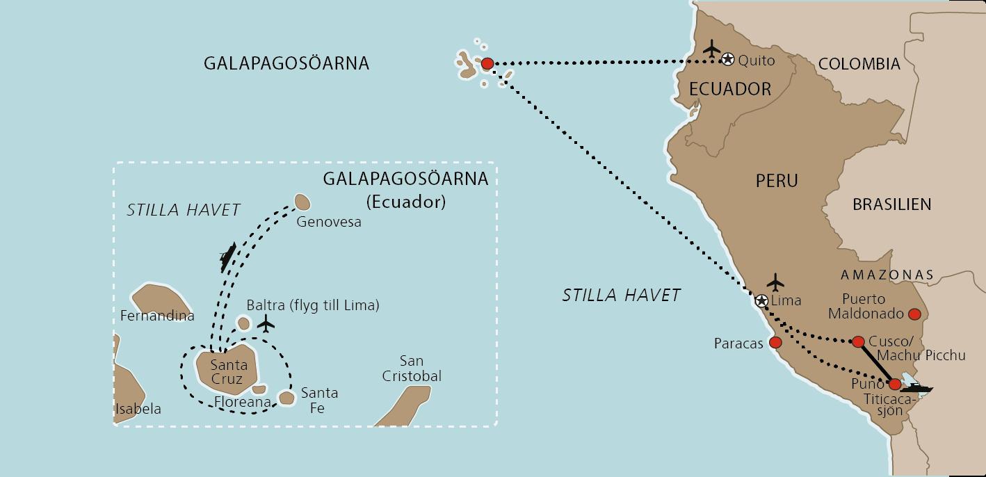 Karta Inkariket med Galapagos