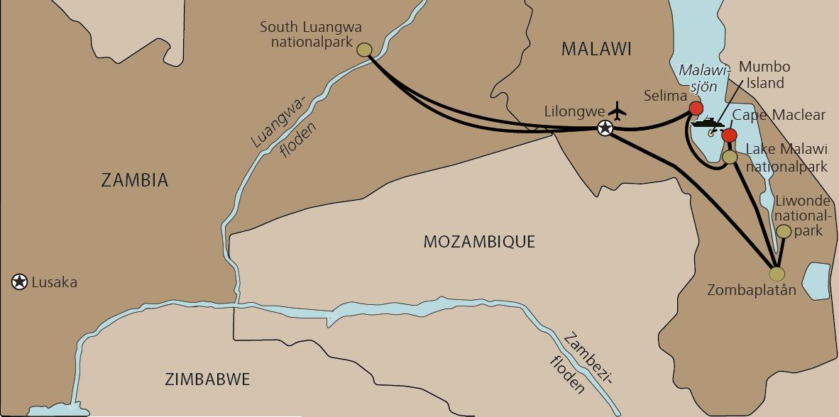Karta Malawi och Zambia