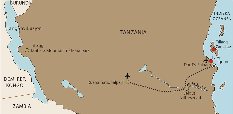 Karta Tanzania med Ruaha och Selous