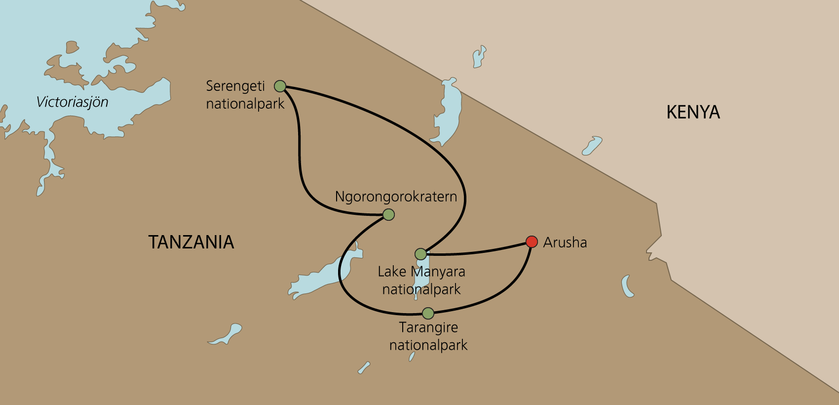 Karta Norra Tanzania med engelsk guide