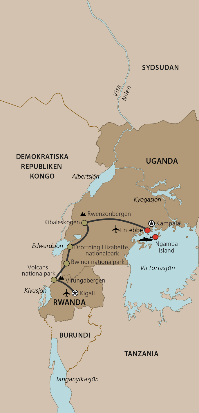 Karta Uganda och Rwanda