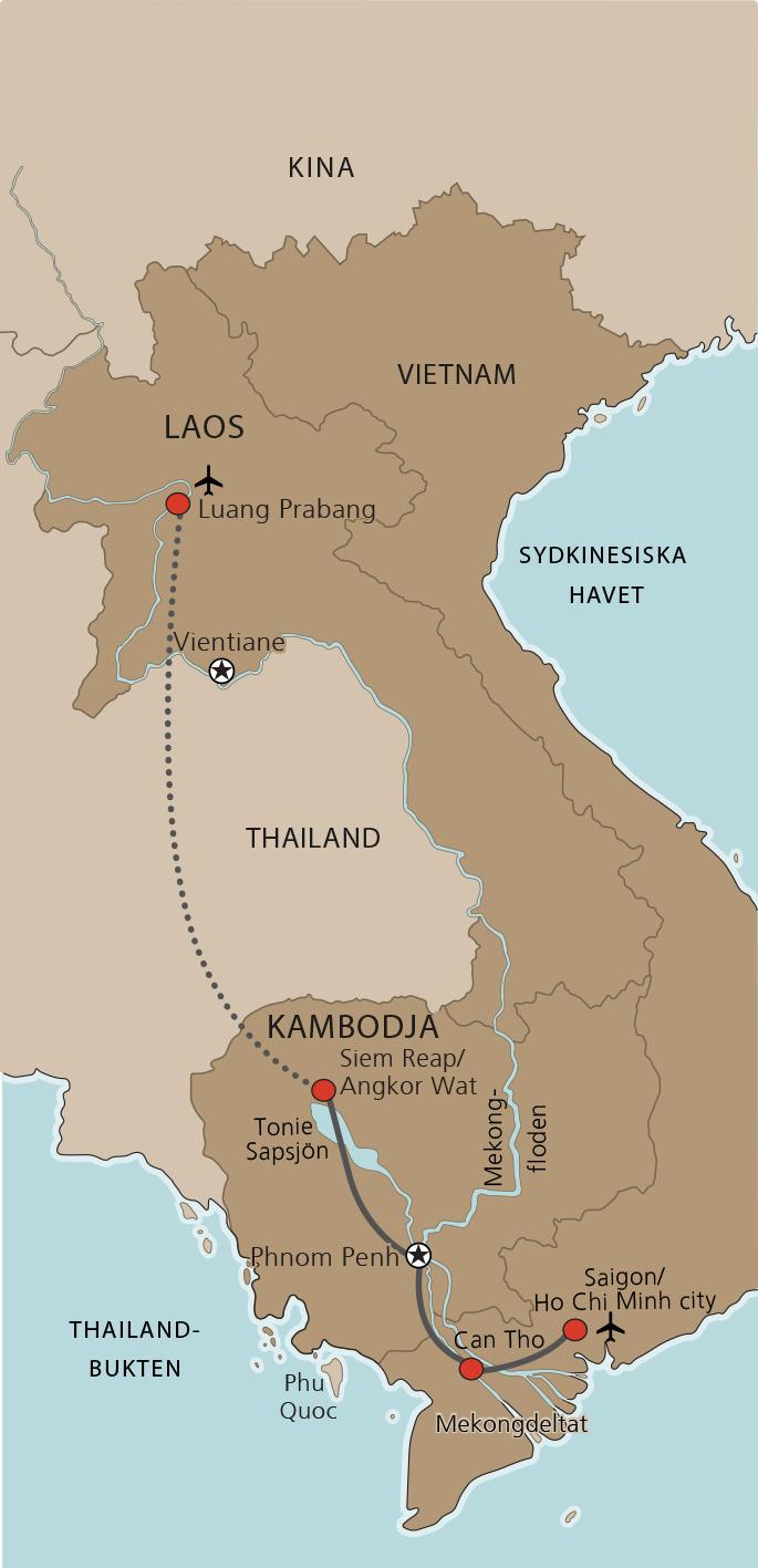 Karta Laos, Kambodja och Vietnam
