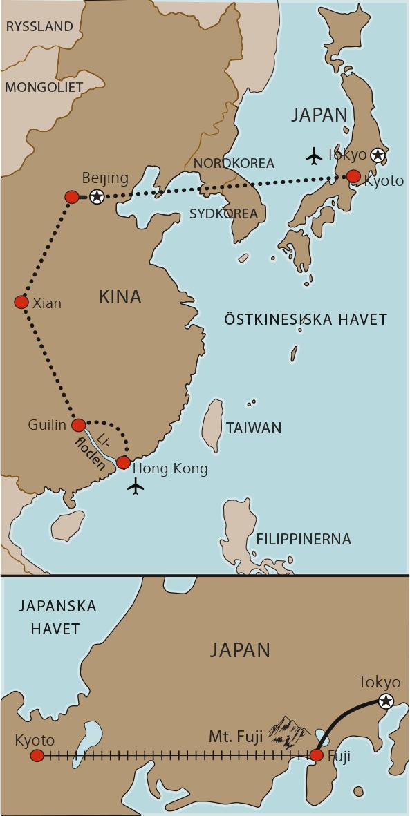 Karta Japan och Kina