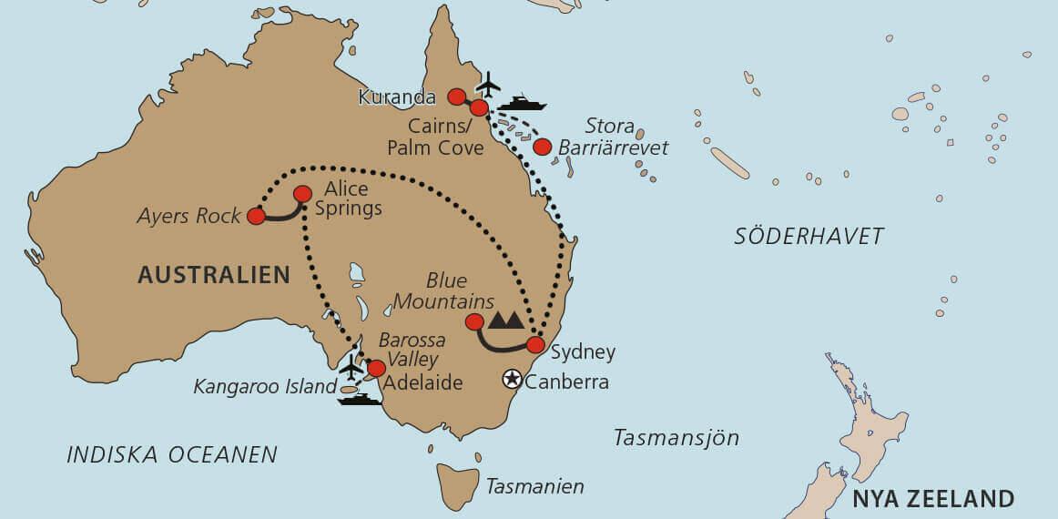 Karta Australiens Höjdpunkter