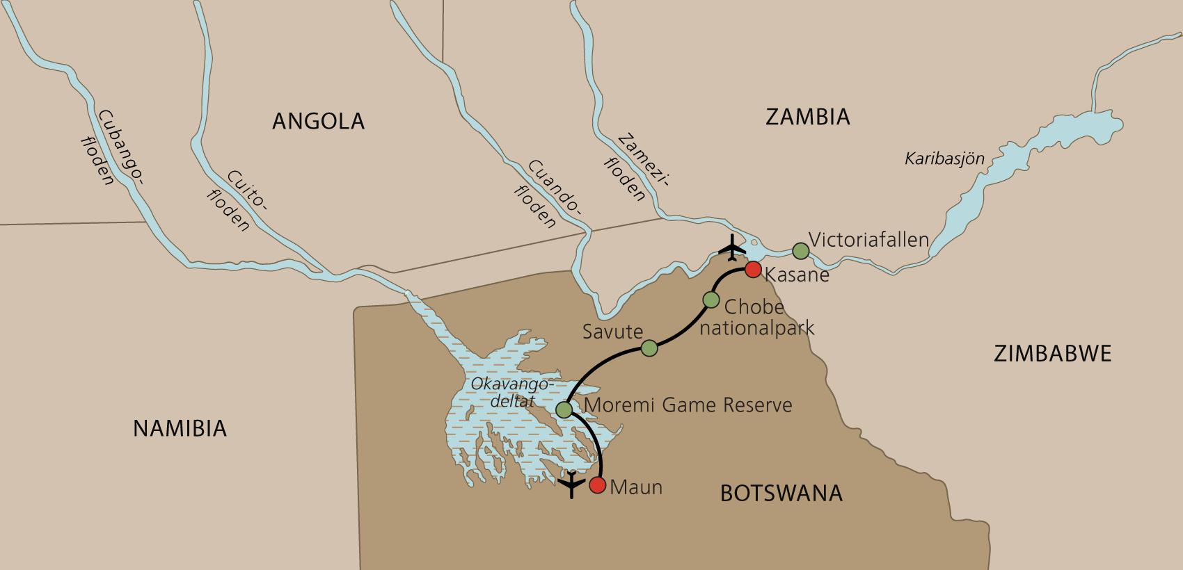 Karta Botswana med engelsk guide