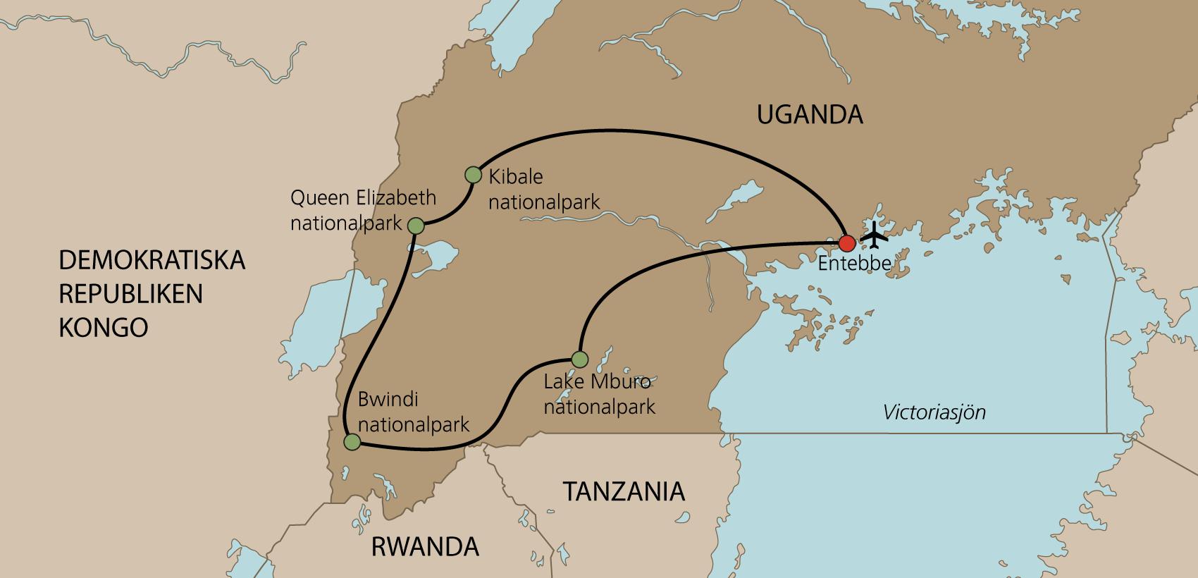 Karta Uganda med engelsk guide