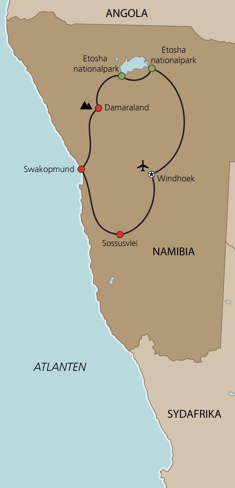 Karta Namibia med engelsk guide