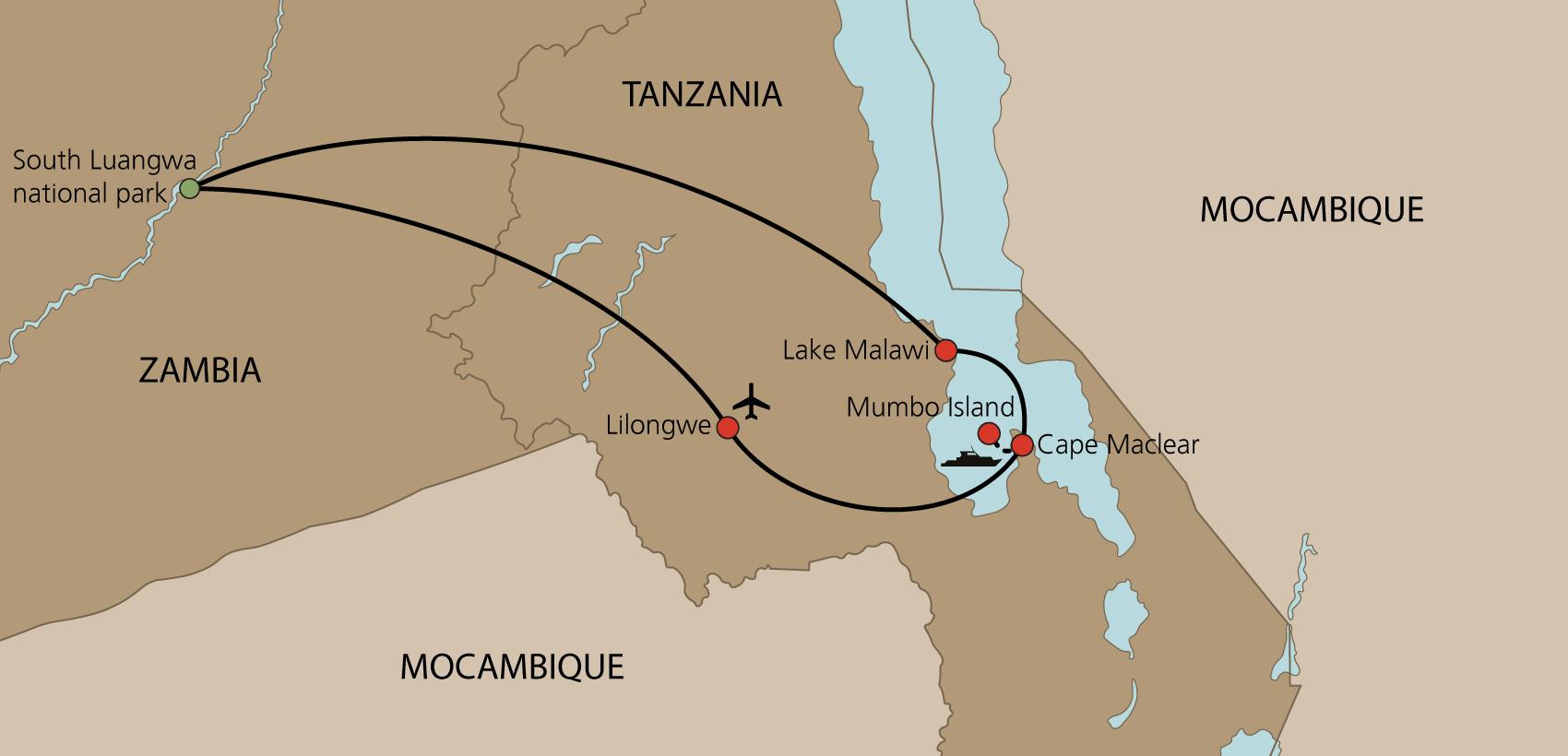 Karta Malawi med engelsk guide