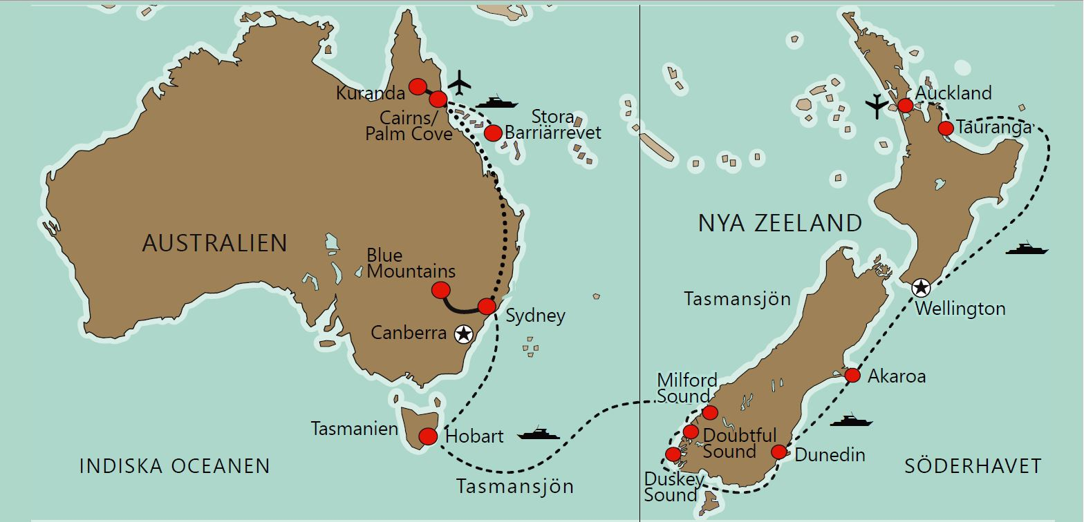Karta Kryssning Australien & Nya Zeeland