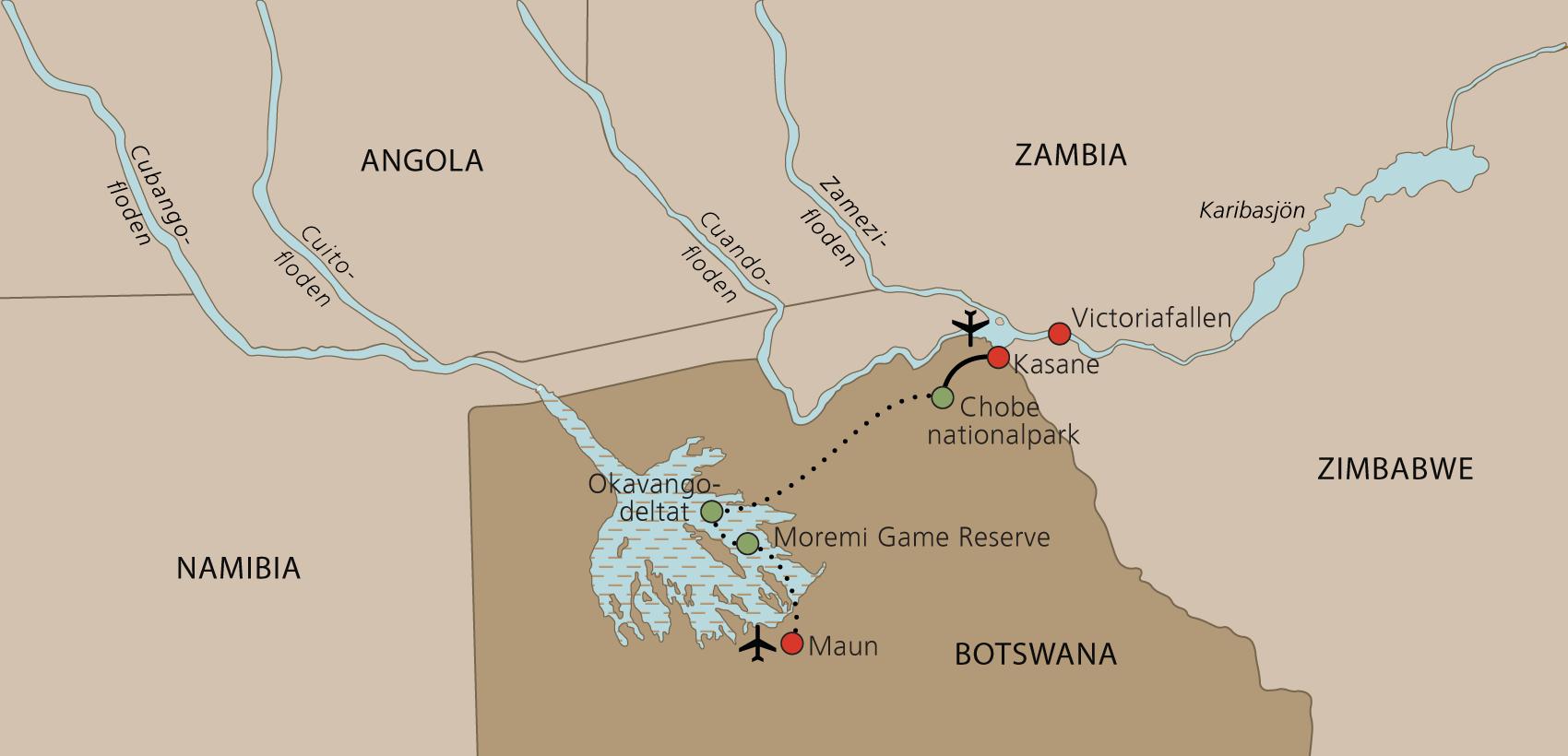 Karta Botswana lodgesafari
