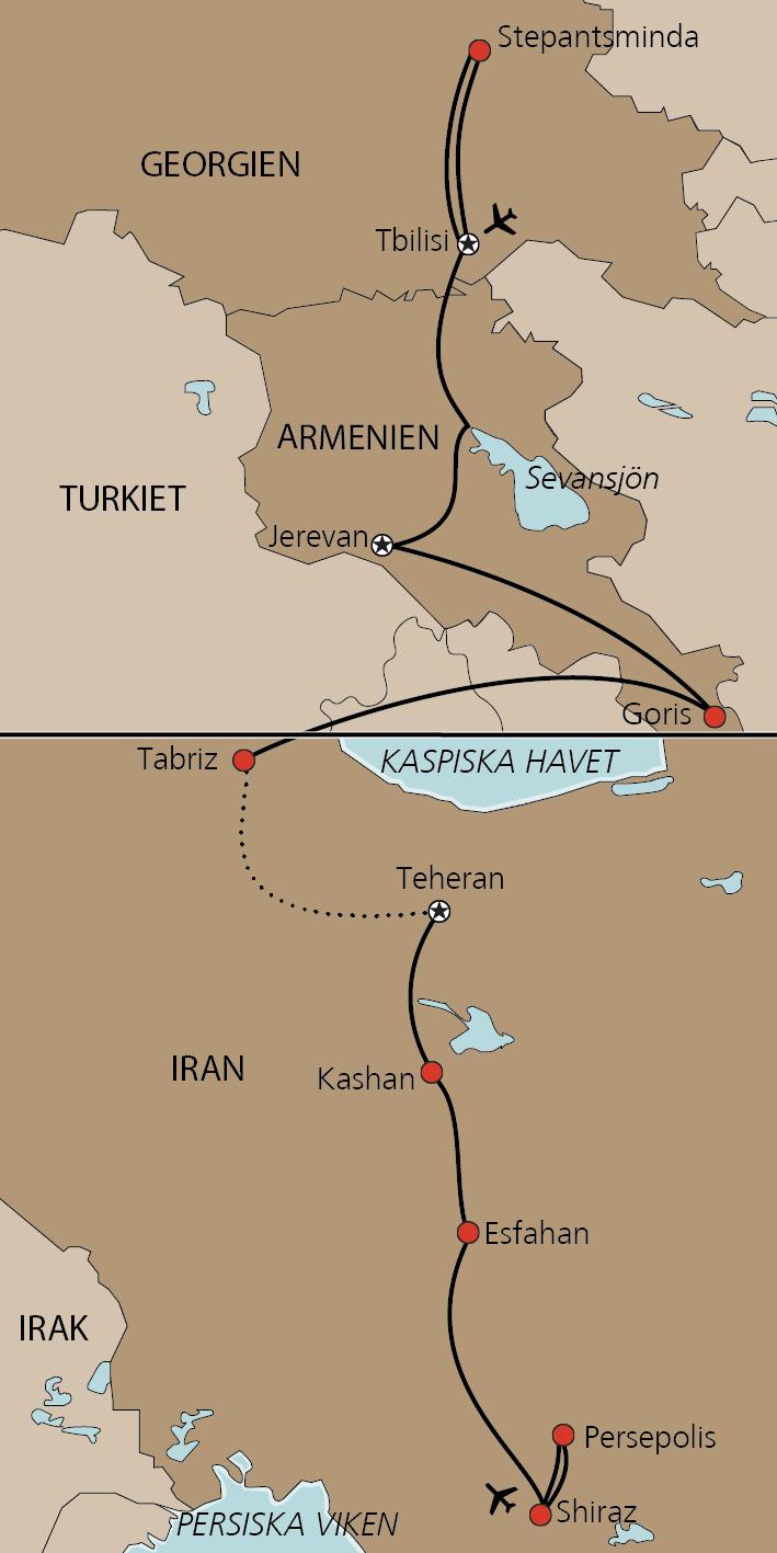 Karta Georgien, Armenien och Iran