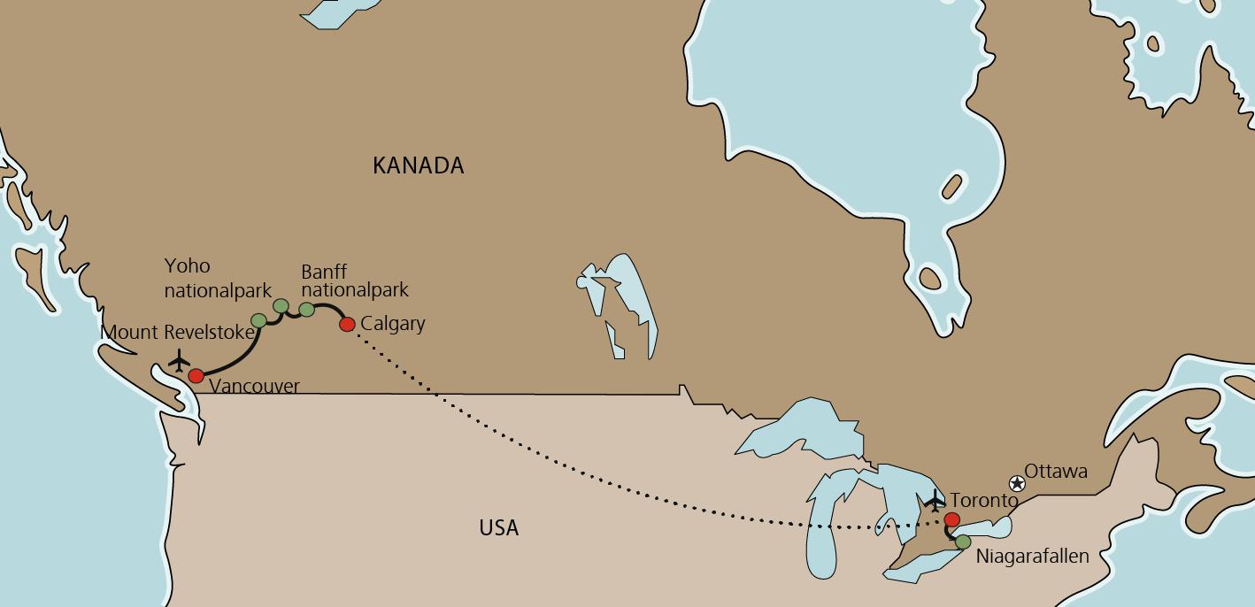 Karta Kanadas vilda natur