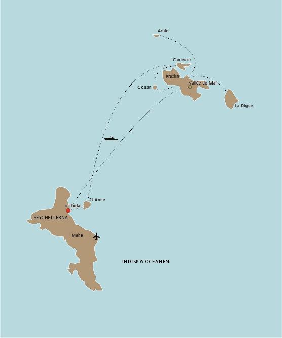 Karta Seychellerna Island Hopping
