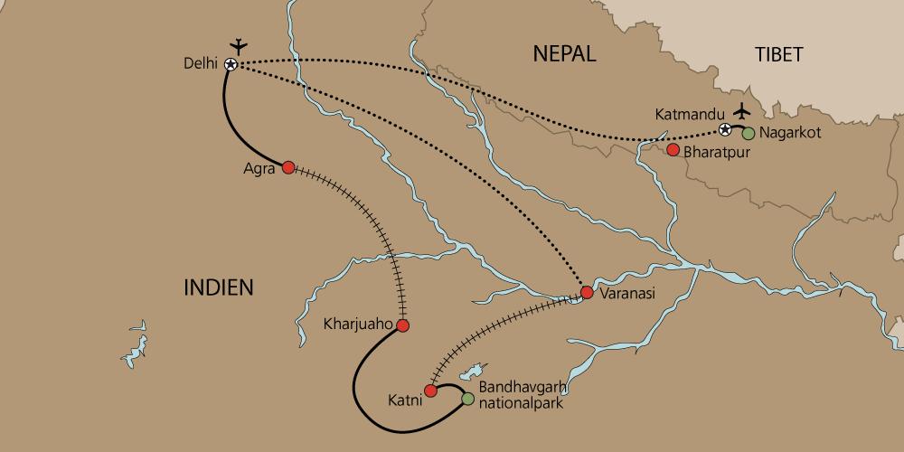 Karta Indien och Nepal