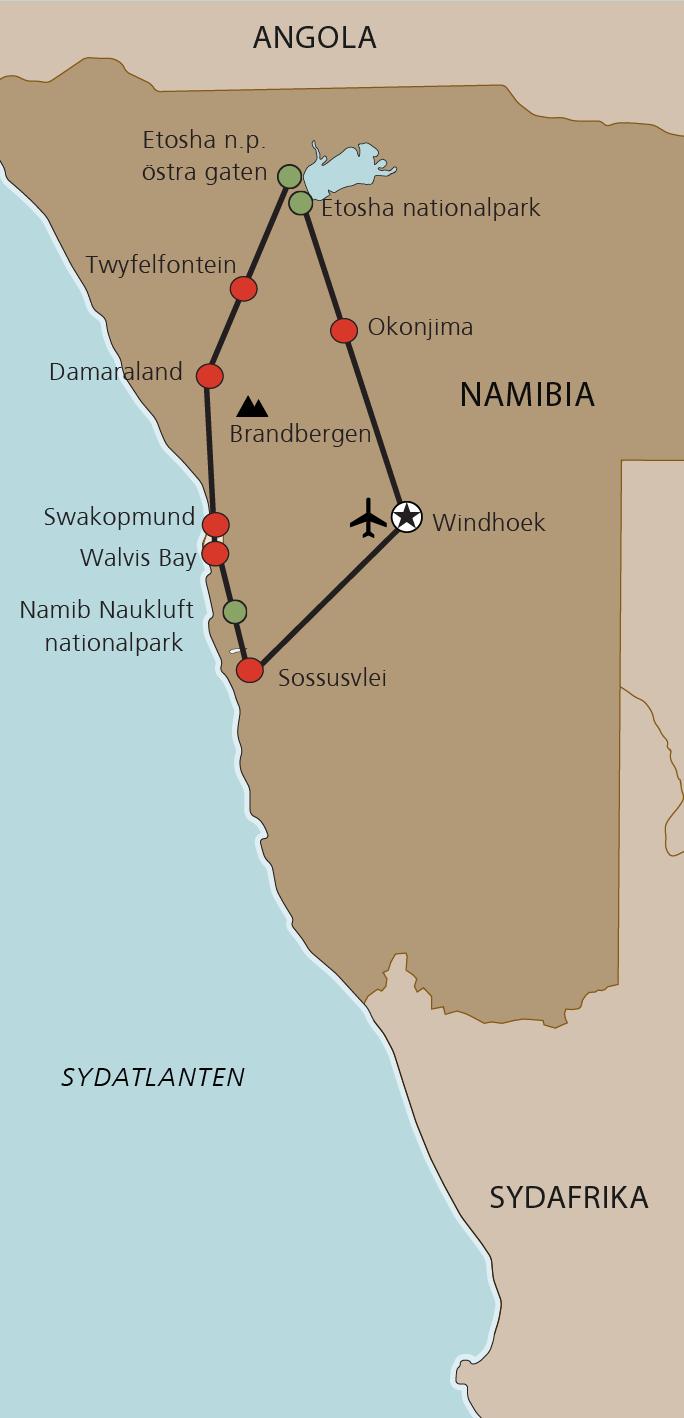 Karta Namibia