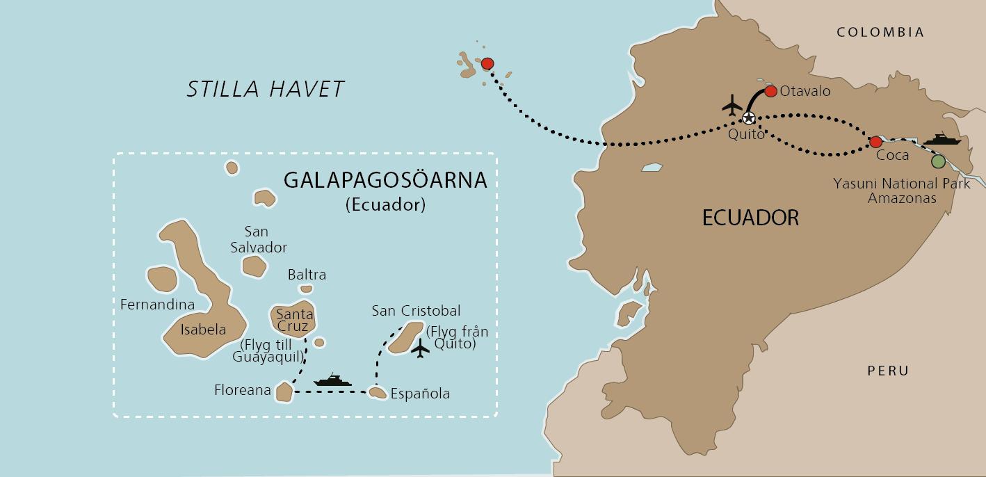 Karta Amazonas och Galapagos