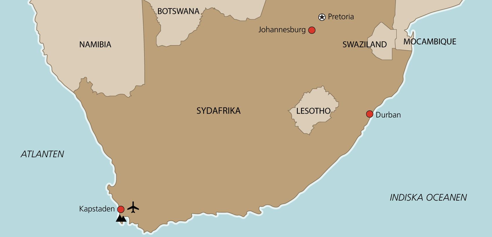 Karta Kapstaden med engelsk guide
