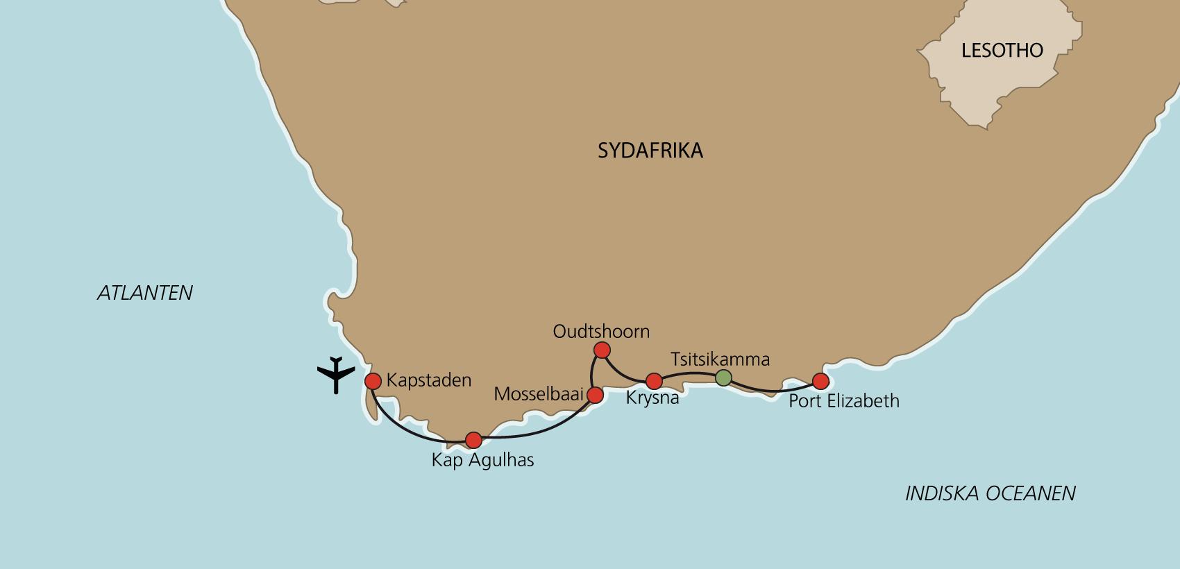 Karta Garden Route med engelsk guide
