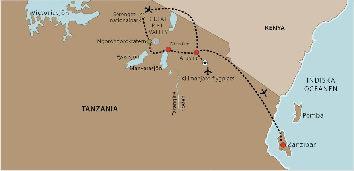 Karta Tanzania safari med Serengeti