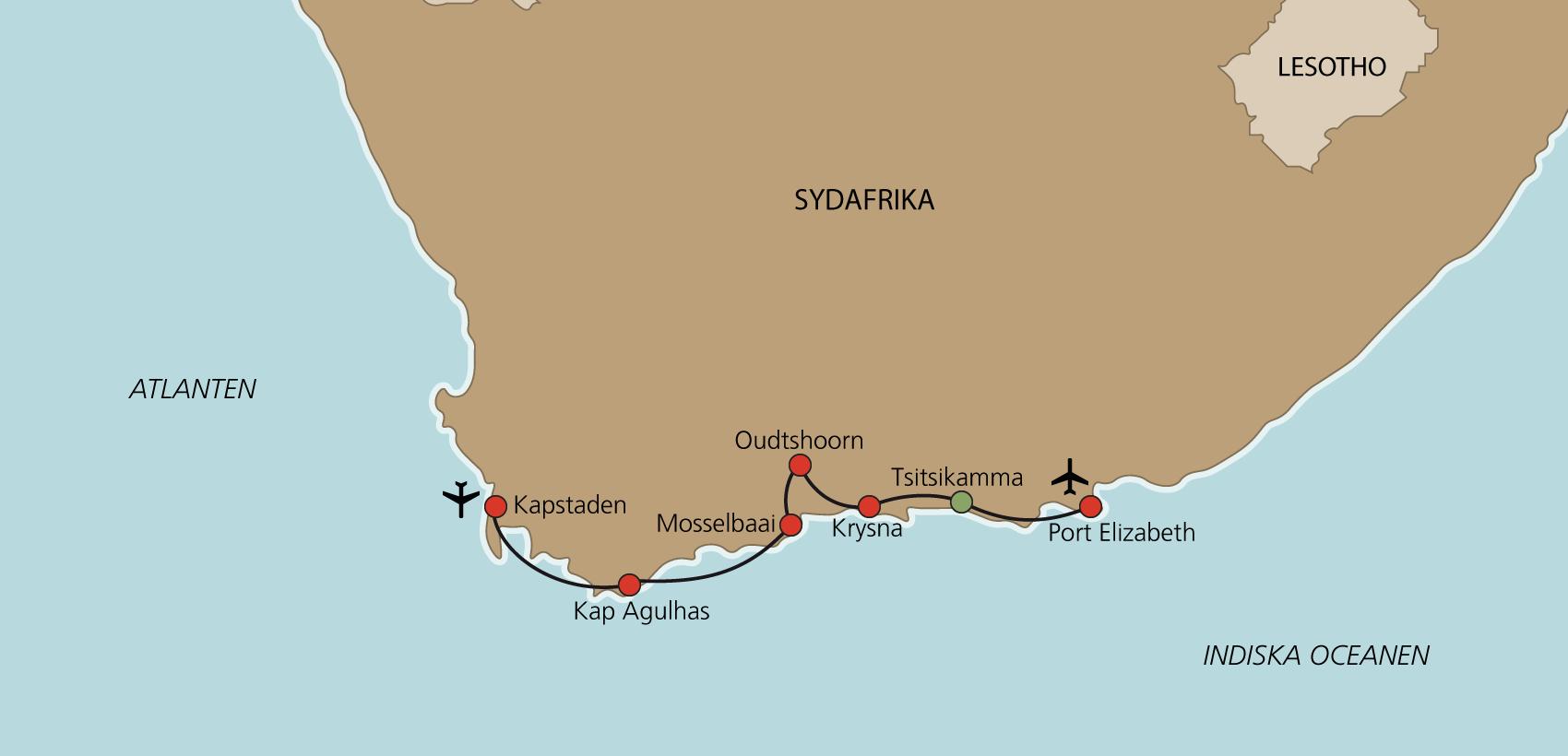 Karta Kapstaden och Garden Route