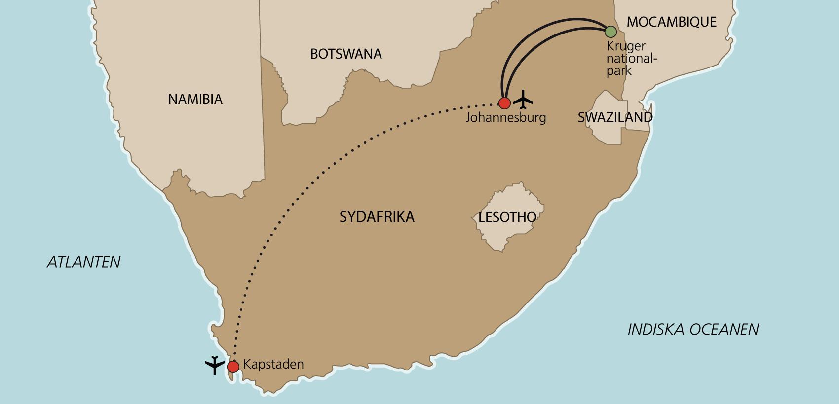 Karta Kapstaden och Kruger Nationalpark