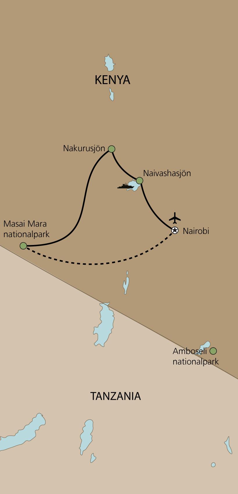 Karta Kenya – den stora migrationen