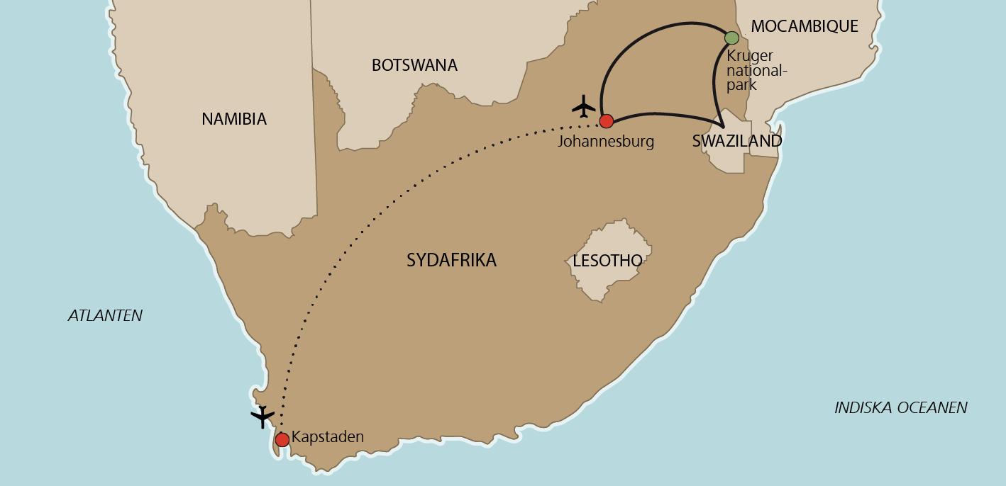 Karta Kapstaden och Krugerparken
