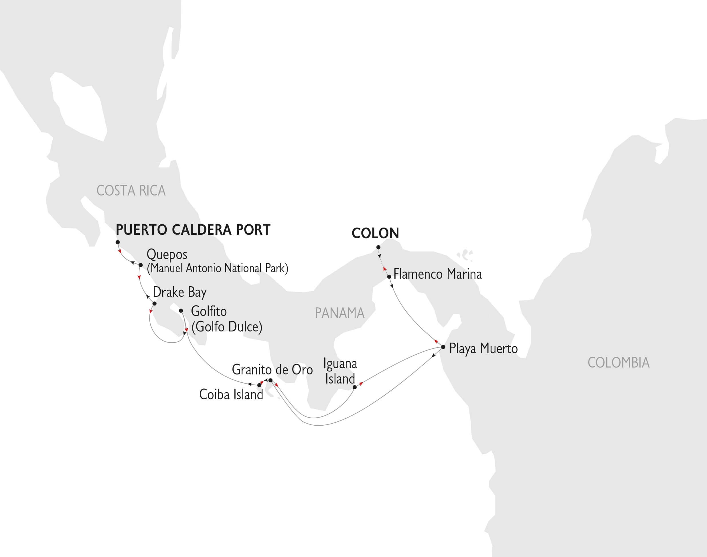 Karta Costa Rica och Panama seglats