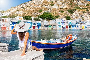 Vykortsvackra Santorini